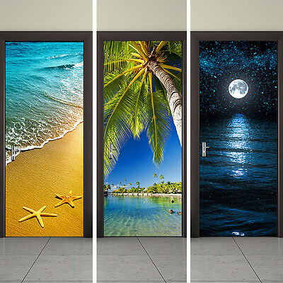 2PCS/Set 3D Seaside DIY Door Stickers Mural Self-adhesive Wall Decor Sticker