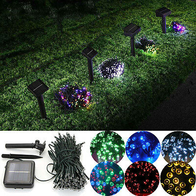 60/100/200 Solar Powered LED String Fairy Lights Garden Outdoor Xmas Party Lamp