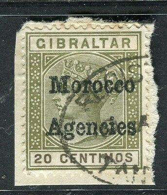 MOROCCO AGENCIES;  Early 1900s QV Optd. issue fine used 20c. value on piece