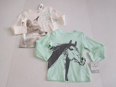 NWT Girls Carter's Old Navy Lot of 2 Long Sleeve Shirts sz 3t ~Horse Wolf~