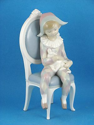 Little Harlequin - Boy Clown in Chair w Cat - Figurine by Lladro #1229 MINT