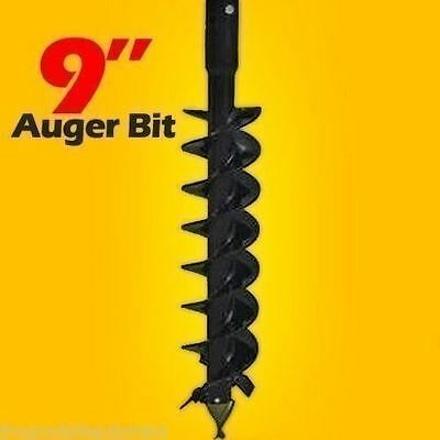 """9"""" x 48"""" Auger Bit For Mini Skid Steer Auger Drive w/ 2.5"""" Round Drive,Fits Most"""