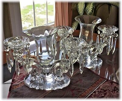 Pair of Heisey BAROQUE 2 Light Candlesticks Bobeches Prisms Vases
