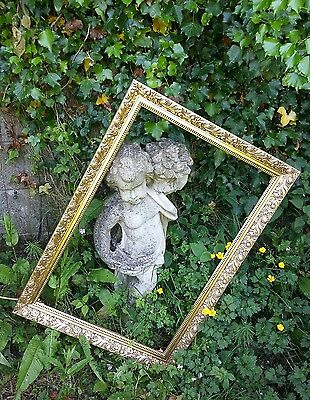 """Large Vintage Ornate Gold Antique French Chic Picture Wood Frame ~ 20"""" x 30"""""""