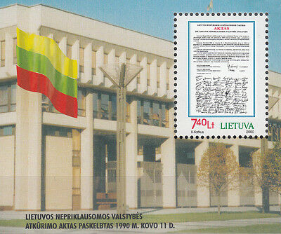 Lithuania No. block 18** (724**) 10 years of independence