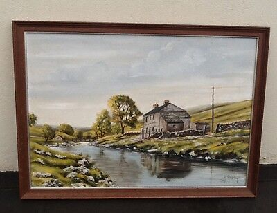 Original Oil Painting Landscape Stone Cottage by Stream Signed Framed