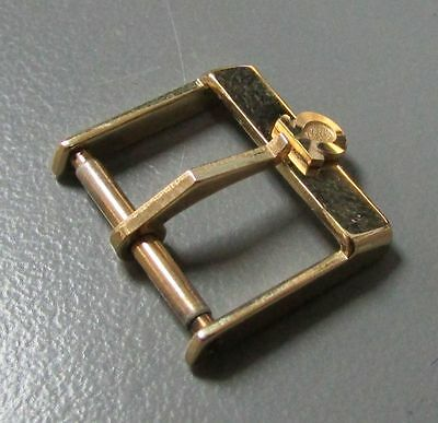 GENUINE VINTAGE PLAQUE GOLD OMEGA 16mm LEATHER STRAP BUCKLE