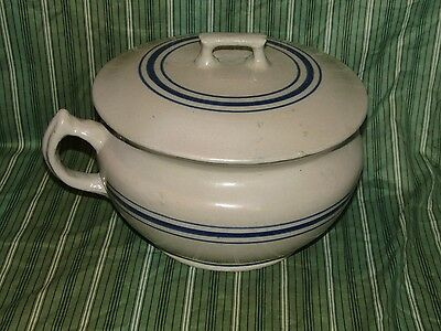 Vintage Red Wing Chamber Pot With Lid - Blue Striped - No Cracks -Very Good Cond