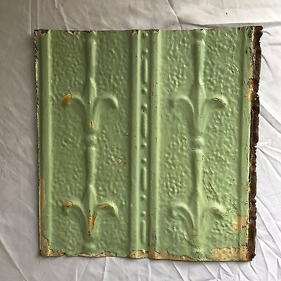 1890's 12 x 12 Antique Tin Ceiling Tile Reclaimed 357-17 Green Anniversary Metal