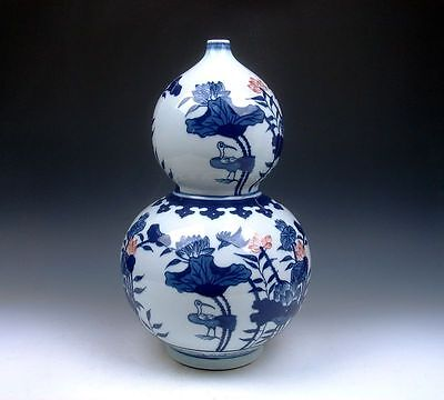 "13.25"" Blue&White Porcelain Ox-Blood Red Cranes Lotus Gourd Shaped LARGE Vase"