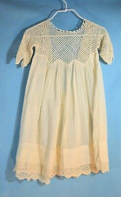 Vtg handmade  ecru COTTON & lace top BABY CHRISTENING GOWN s/s