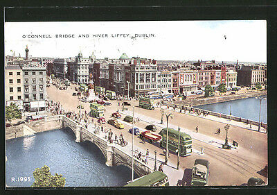 alte AK Dublin, O´Connel Bridge and River Liffey, Autobus 1950