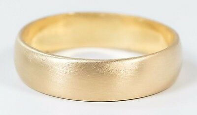 14K Yellow Gold 5mm Wide Satin Finish Wedding Band Ring Size 8 - 3.7 grams