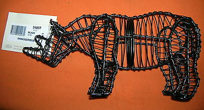 "Green Piece Wire Art 7"" Rhinocerous Topiary Sculpture #24007 UPC:710534479226"