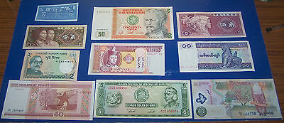 10  Foreign Bank Note's  Mint Condition Uncirculated Set +