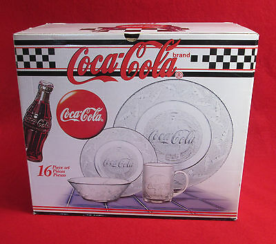 Vintage Coca Cola 16 Piece Dish Set Clear, 1997, New in Original Box