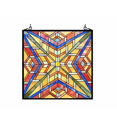 """Stained Glass Tiffany Style Window Panel Mission Arts & Crafts Design 24"""" x 24"""""""
