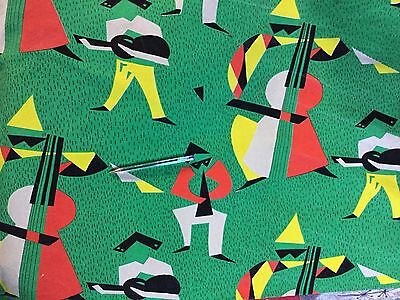 Vintage 1950s  French Curtain Fabric Jazz Musicians