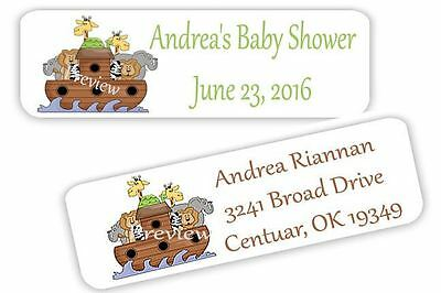 ~80 Baby Shower Noah's Ark Personalized Mini Return Address Labels