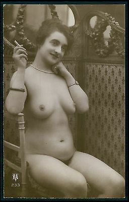 French full nude woman seated smoking cigarette old c1910-1920s photo postcard