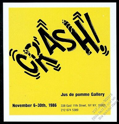 1986 Crash graffiti artist NYC gallery show vintage print ad