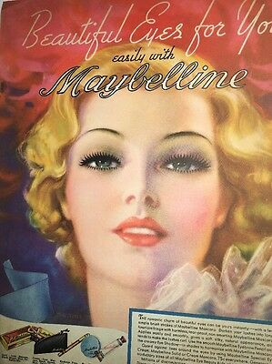 Incredible Maybelline Cosmetic Ad Beautiful Lady Pin Up Girl 1930s Stunning Eyes