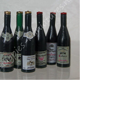 Dolls House 12th scale Wine Bottles, Pack of 6 D405