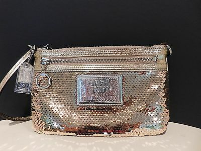 Coach Poppy Sequin Gold Large Wristlet Limited Edition!!