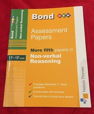 NEW Bond Fifth Papers In Non Verbal Reasoning Assessment Papers 11+ - 12+ Years