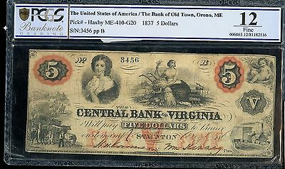 1837 PCGS 12 Fine US The Bank of Old Town, Orono, ME $5 Note EM531