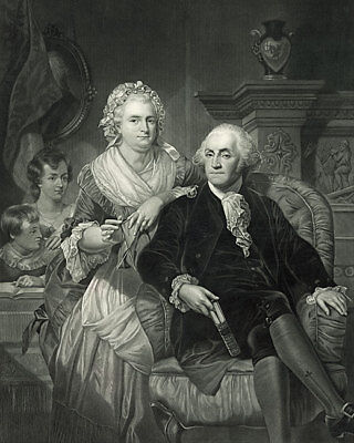 George Washington and Family At Home Engraving 11x14 Silver Halide Photo Print