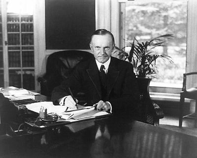President Calvin Coolidge At Oval Office Desk 8x10 Silver Halide Photo Print