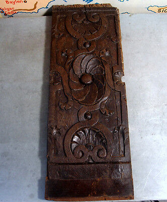 PANEL RARE 16th ANTIQUE FRENCH CARVED WOOD MOUNT ORNAMENT PANEL architectural 7