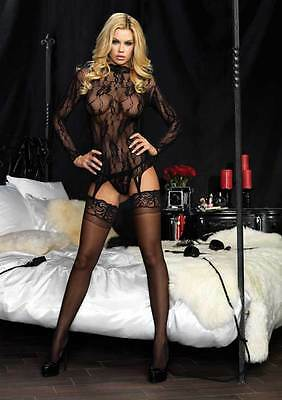Women Long Sleeved Floral Lace Garter Top And Matching G-String Lingerie 86524