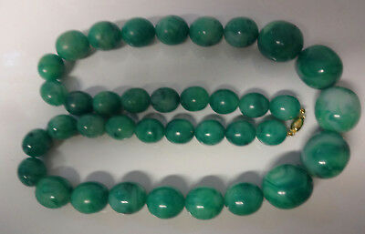 Vintage Chinese 20's Large Beads Faux Jade Green Color Beautiful Long Necklace