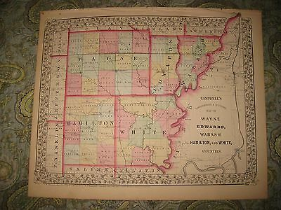 Antique 1870 Wayne Edwards Wabash Hamilton White County Illinois Map Railroad Nr