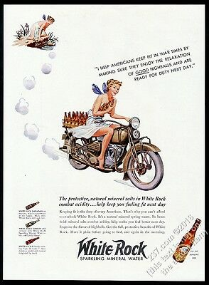1942 White Rock water fairy woman on motorcycle vintage print ad