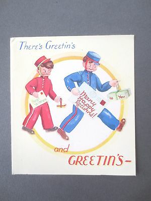 Vintage BIRTHDAY Greetings Card Comic Postman Telegram Boy Late 1940s Unused