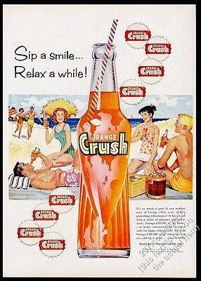 1959 Orange Crush soda bottle beach friends art vintage print ad
