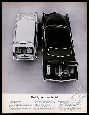 1970 VW Volkswagen Squareback and Cadillac photo vintage print ad