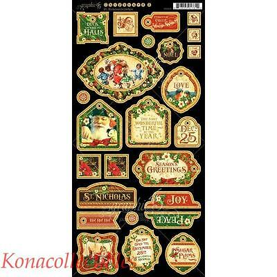 "Graphic 45 St. Nicholas Chipboard Die-Cuts 6""X12"" Sheet  New! Christmas! Deco"