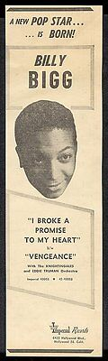 1953 Billy Bigg photo Imperial Records vintage trade print ad