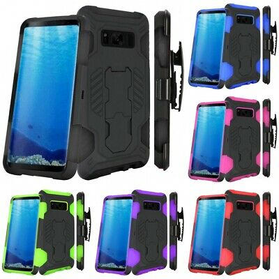 For Samsung Galaxy S8 SuperCoil Hybrid Armor Hard Soft Rugged Case Holster