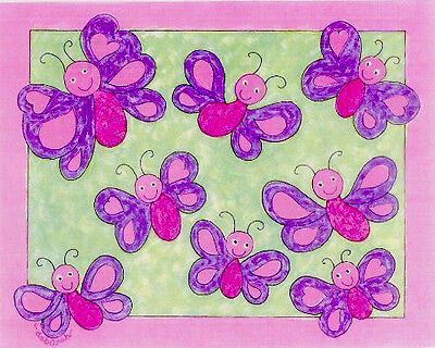 PINK & PURPLE BUTTERFLY ART Decor Hand-Decorated Baby Nursery Girls 8 x 10 Print