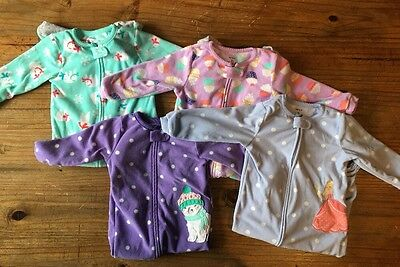 Lot Of 4 Carters Fleece Footed Pajamas - Size 2T - Girls PJs