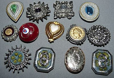 Button Covers Lot of 13 Vintage Glass Rhinestones Sun Coins