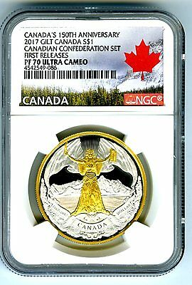 2017 Canada $1 Gilt Gold Silver Dollar Ngc Pf70 150Th Anniversary Confederation