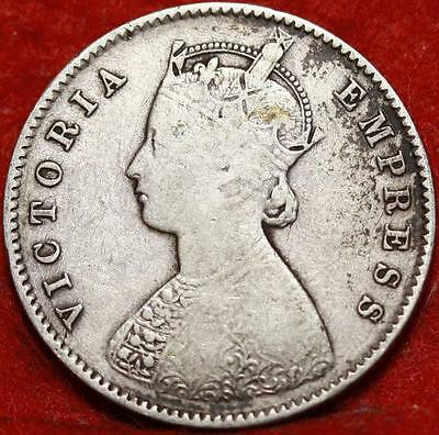 1888 India Half Rupee Silver Foreign Coin Free S/H