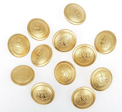12 Pcs Wwi German Officer Imperial Crown Tunic Button Gold 21Mm-33529