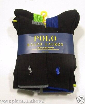 Polo Ralph Lauren Men's Athletic Black Contrast Logo Crew Socks Pack of 6